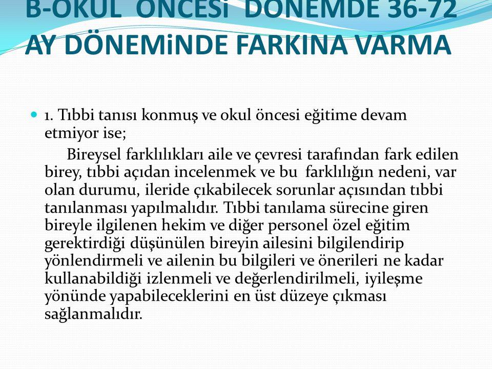 B-OKUL ÖNCESi DÖNEMDE 36-72 AY DÖNEMiNDE FARKINA VARMA