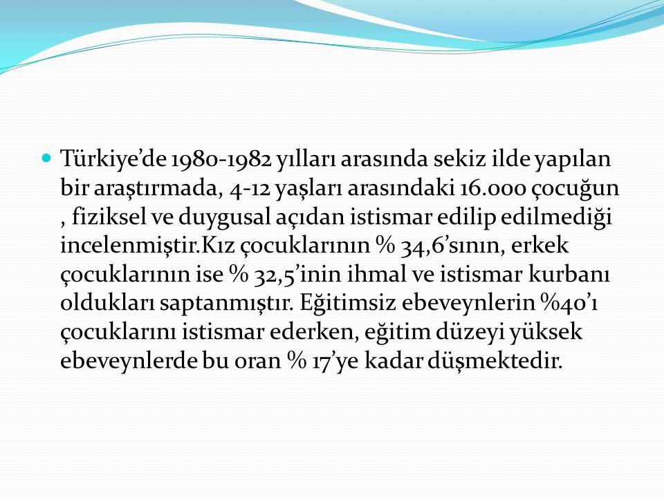 Türkiye'de 1980-1982 yılları arasında sekiz ilde yapılan bir araştırmada, 4-12 yaşları arasındaki 16.000 çocuğun , fiziksel ve duygusal açıdan istismar edilip edilmediği incelenmiştir.Kız çocuklarının % 34,6'sının, erkek çocuklarının ise % 32,5'inin ihmal ve istismar kurbanı oldukları saptanmıştır.