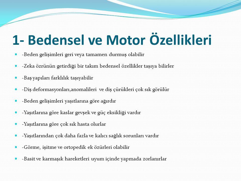 1- Bedensel ve Motor Özellikleri