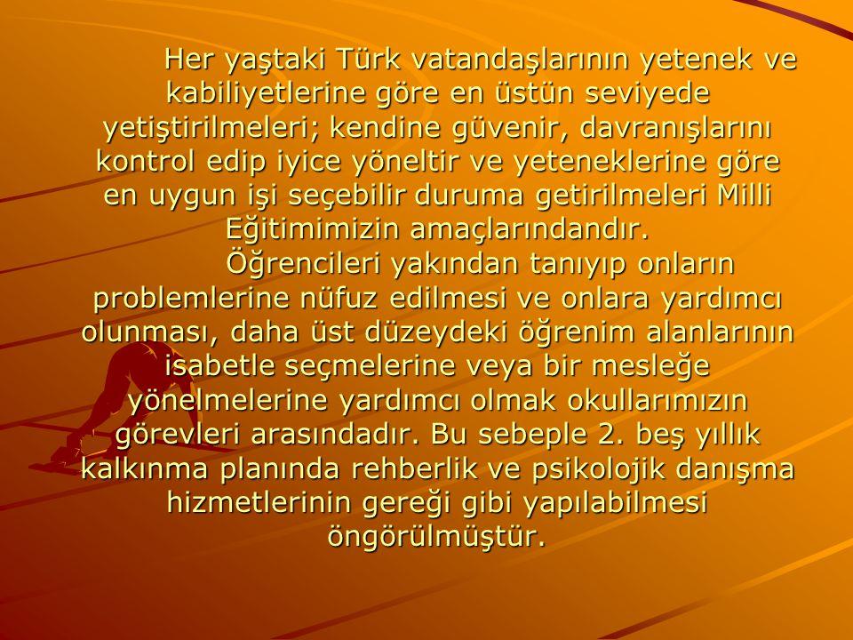 Her yaştaki Türk vatandaşlarının yetenek ve kabiliyetlerine göre en üstün seviyede yetiştirilmeleri; kendine güvenir, davranışlarını kontrol edip iyice yöneltir ve yeteneklerine göre en uygun işi seçebilir duruma getirilmeleri Milli Eğitimimizin amaçlarındandır.