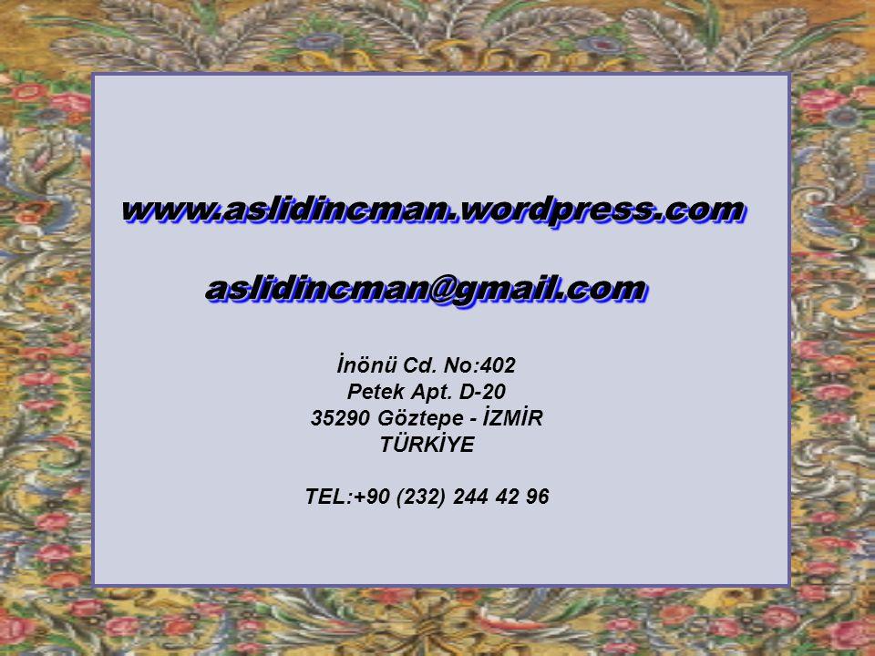 www.aslidincman.wordpress.com aslidincman@gmail.com İnönü Cd. No:402