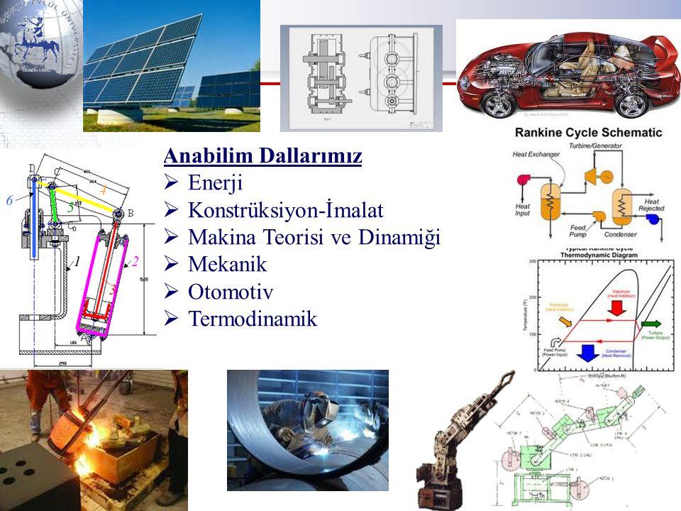 Anabilim Dallarımız Enerji. Konstrüksiyon-İmalat. Makina Teorisi ve Dinamiği. Mekanik. Otomotiv.