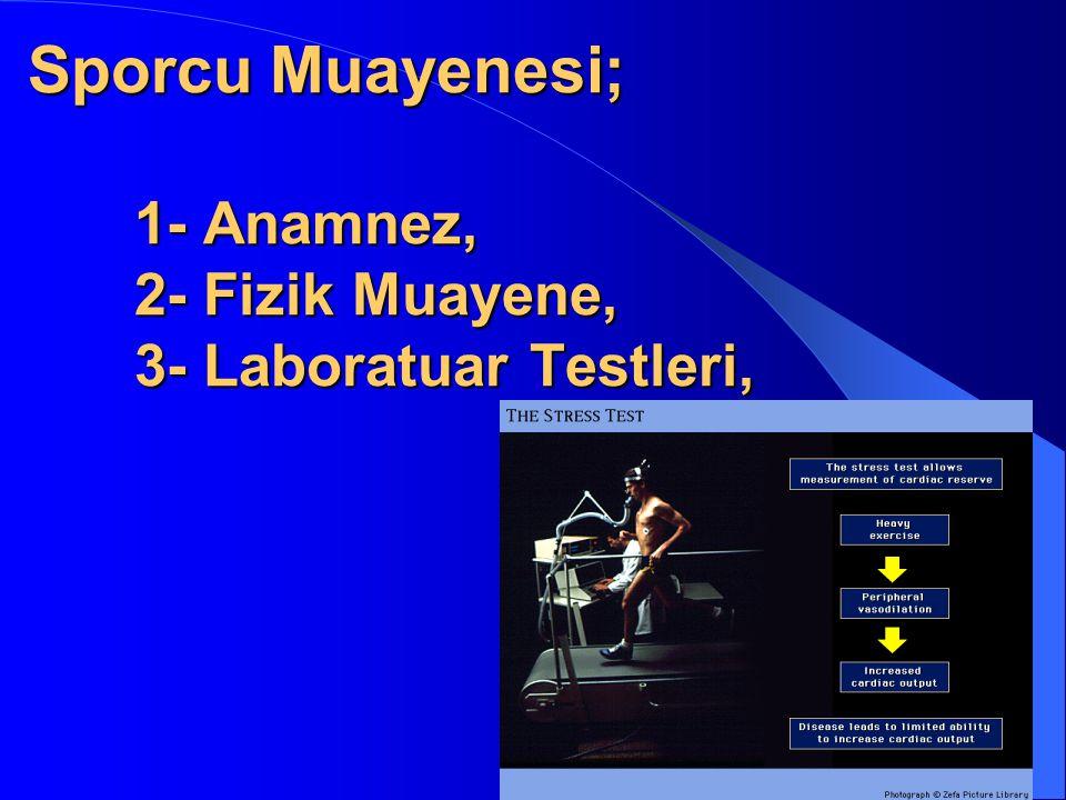 Sporcu Muayenesi;. 1- Anamnez,. 2- Fizik Muayene,