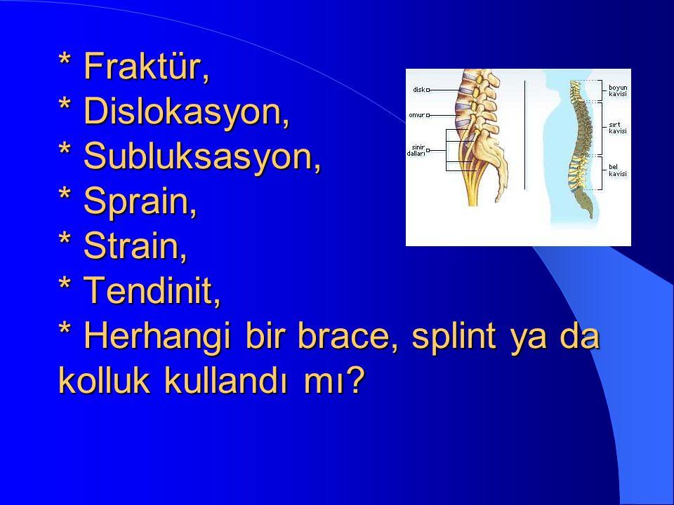 Fraktür,. Dislokasyon,. Subluksasyon,. Sprain,. Strain,. Tendinit,