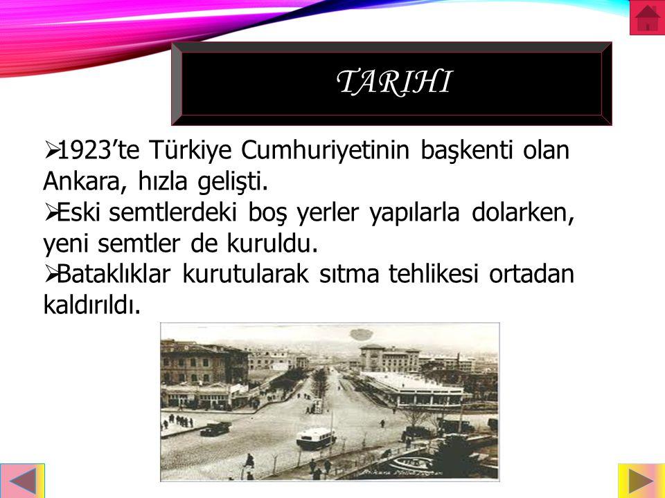 tarihi 1923'te Türkiye Cumhuriyetinin başkenti olan Ankara, hızla gelişti. Eski semtlerdeki boş yerler yapılarla dolarken, yeni semtler de kuruldu.