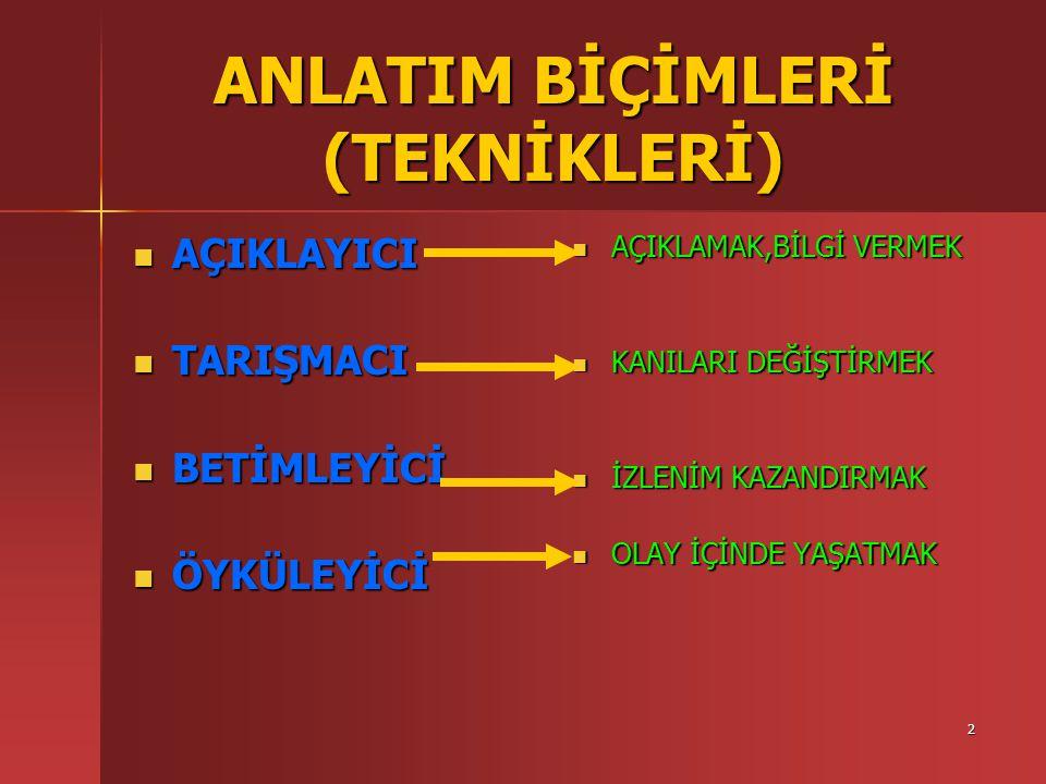 ANLATIM BİÇİMLERİ (TEKNİKLERİ)