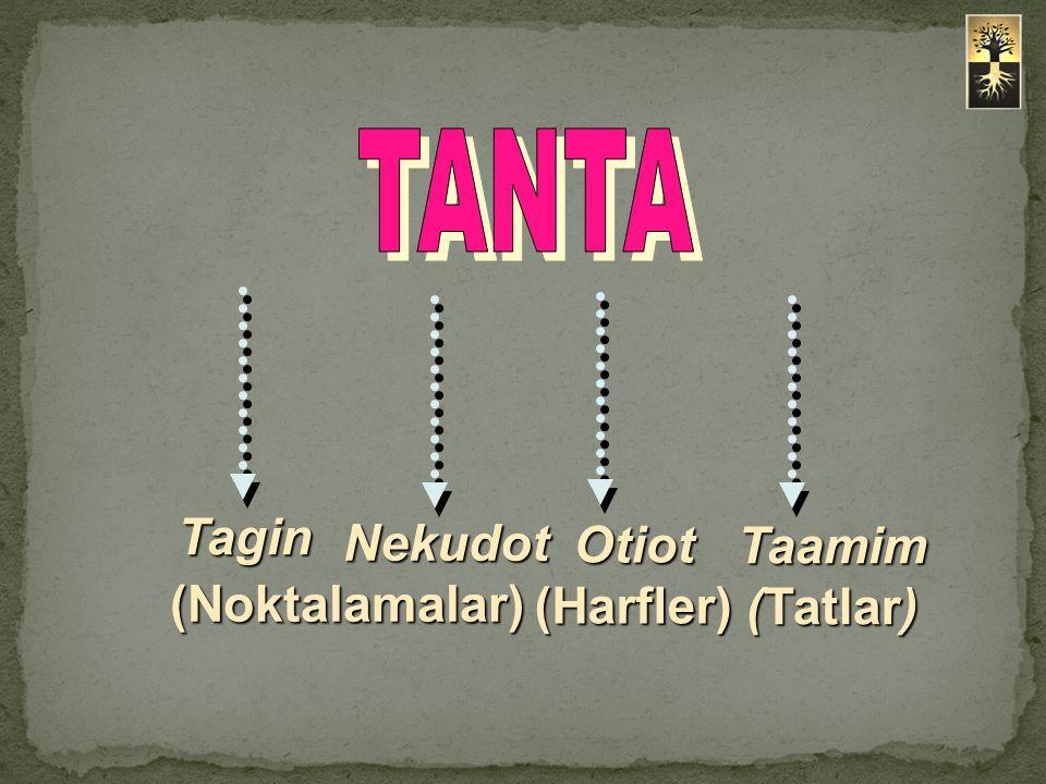 TANTA Tagin Nekudot (Noktalamalar) Otiot (Harfler) Taamim (Tatlar)