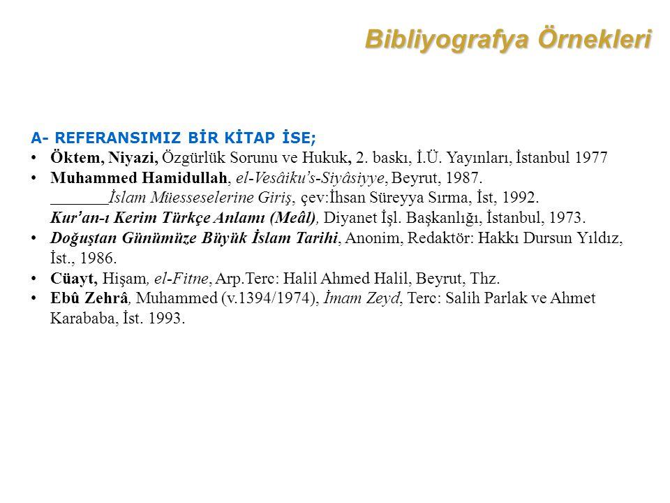Bibliyografya Örnekleri
