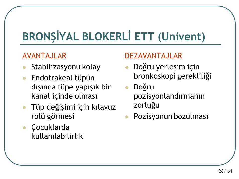 BRONŞİYAL BLOKERLİ ETT (Univent)