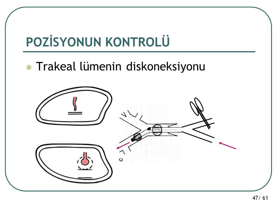 POZİSYONUN KONTROLÜ Trakeal lümenin diskoneksiyonu