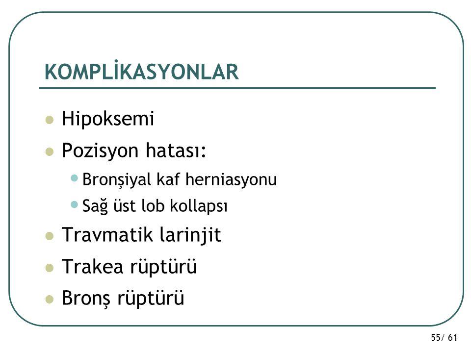 KOMPLİKASYONLAR Hipoksemi Pozisyon hatası: Travmatik larinjit