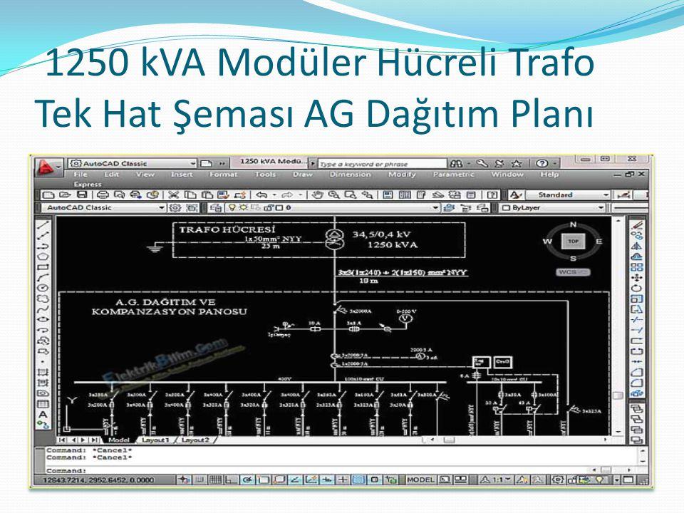 1250 kVA Modüler Hücreli Trafo Tek Hat Şeması AG Dağıtım Planı