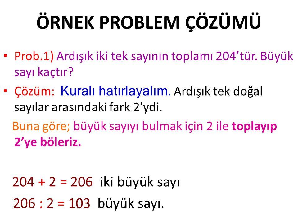 ÖRNEK PROBLEM ÇÖZÜMÜ 206 : 2 = 103 büyük sayı.