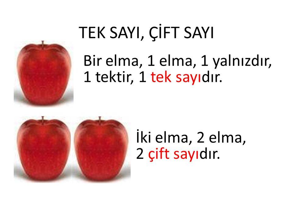 TEK SAYI, ÇİFT SAYI Bir elma, 1 elma, 1 yalnızdır,