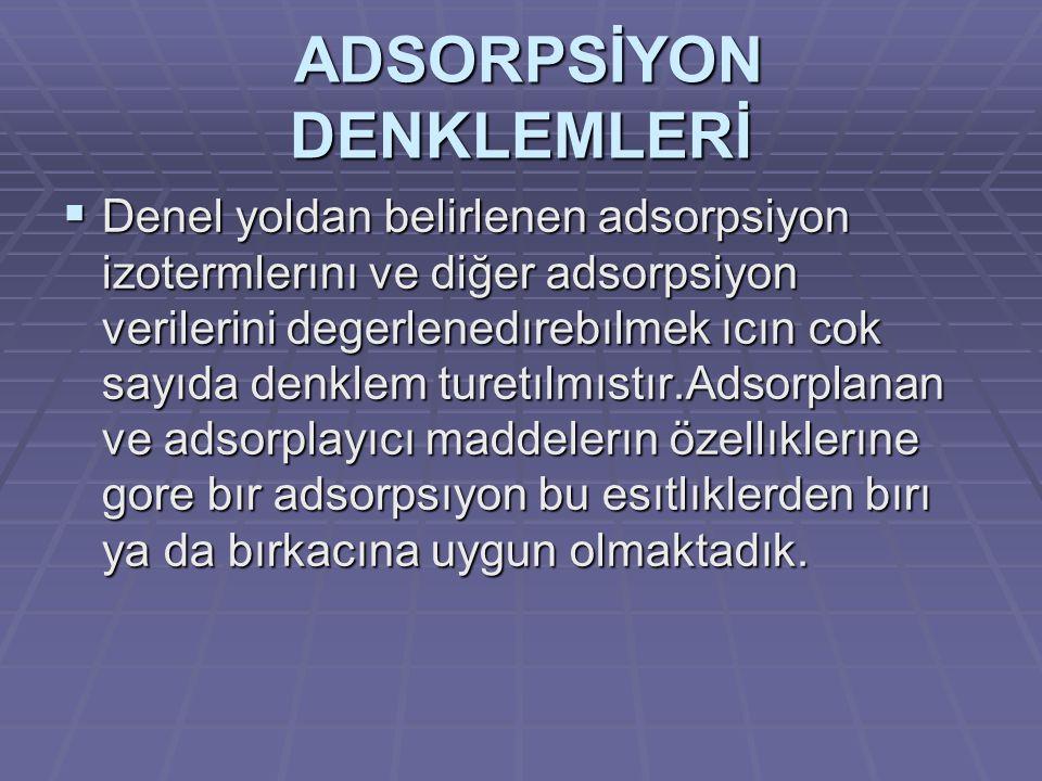 ADSORPSİYON DENKLEMLERİ