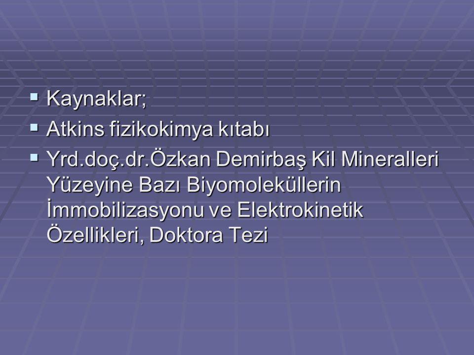 Kaynaklar; Atkins fizikokimya kıtabı.