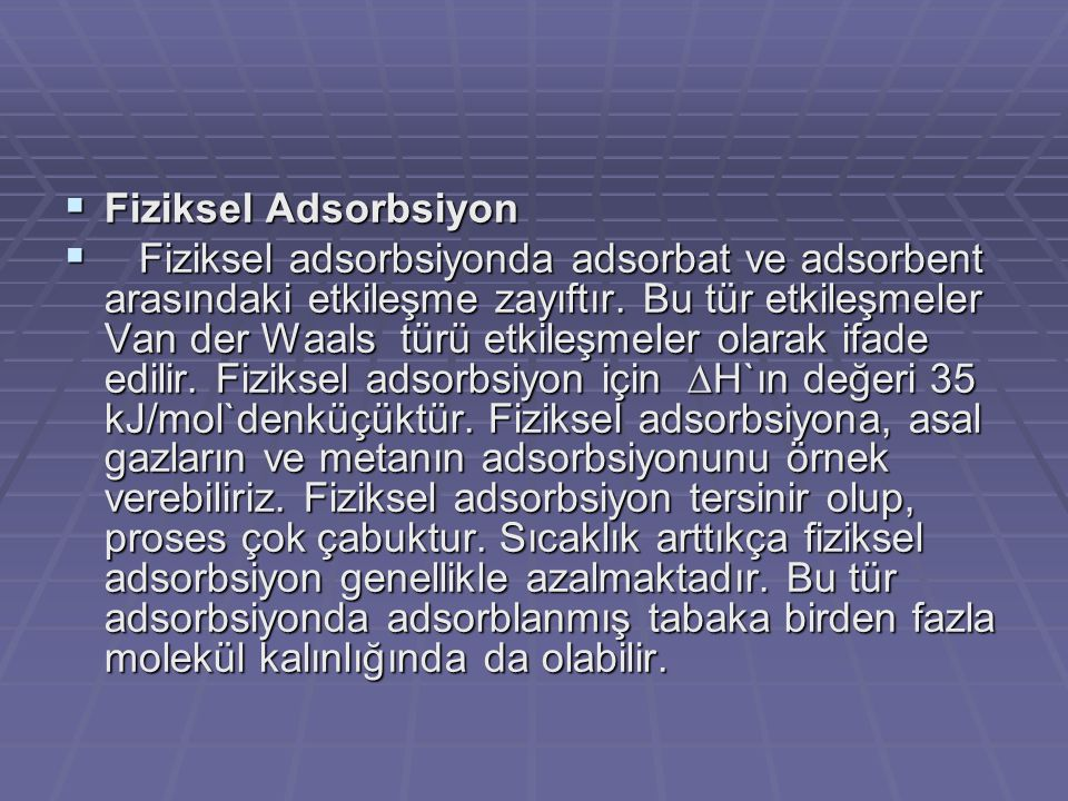 Fiziksel Adsorbsiyon