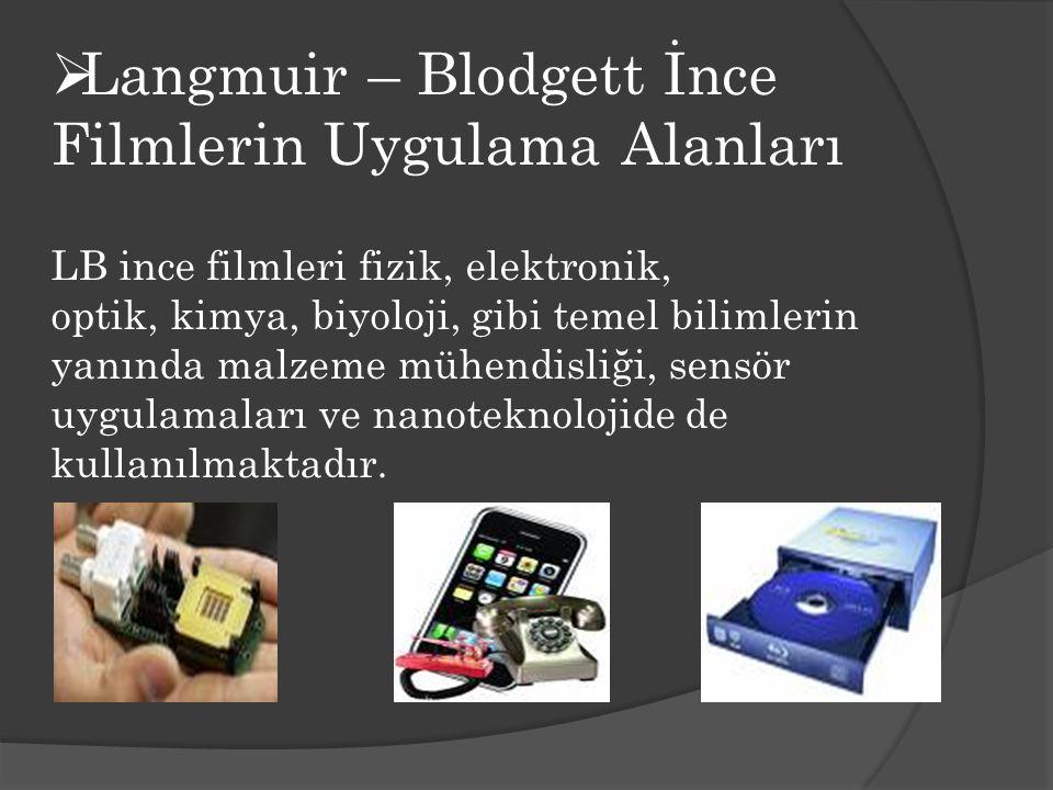 Langmuir – Blodgett İnce Filmlerin Uygulama Alanları LB ince filmleri fizik, elektronik, optik, kimya, biyoloji, gibi temel bilimlerin yanında malzeme mühendisliği, sensör uygulamaları ve nanoteknolojide de kullanılmaktadır.