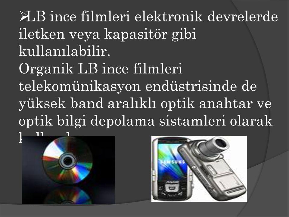 LB ince filmleri elektronik devrelerde iletken veya kapasitör gibi kullanılabilir.