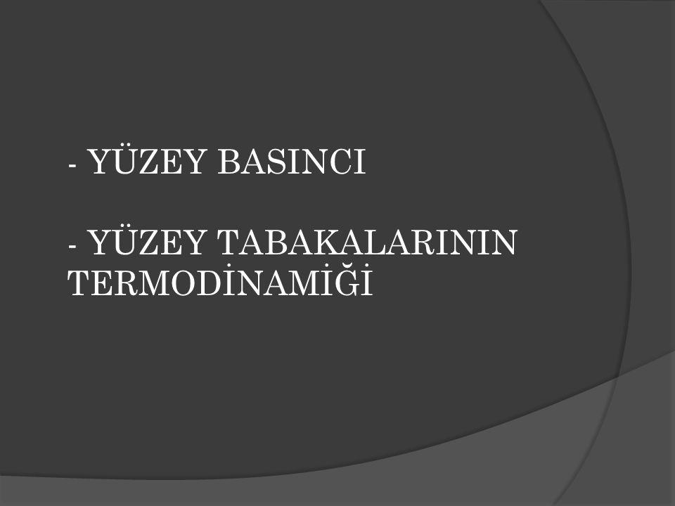 - YÜZEY BASINCI - YÜZEY TABAKALARININ TERMODİNAMİĞİ