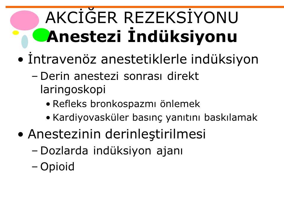 AKCİĞER REZEKSİYONU Anestezi İndüksiyonu