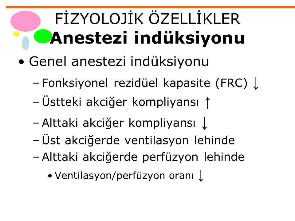FİZYOLOJİK ÖZELLİKLER Anestezi indüksiyonu