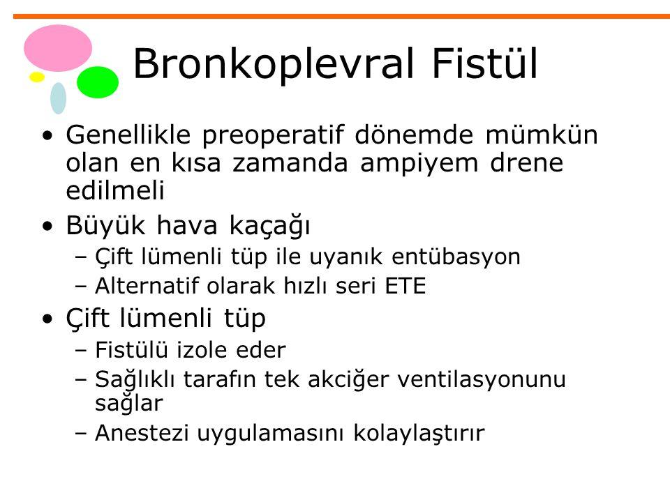 Bronkoplevral Fistül Genellikle preoperatif dönemde mümkün olan en kısa zamanda ampiyem drene edilmeli.