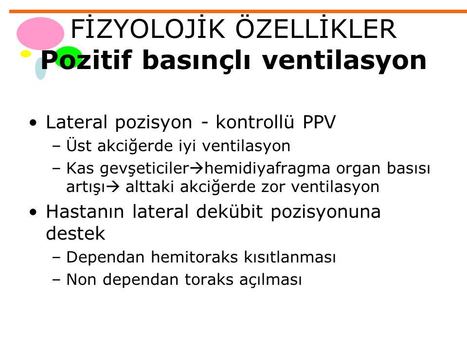 FİZYOLOJİK ÖZELLİKLER Pozitif basınçlı ventilasyon