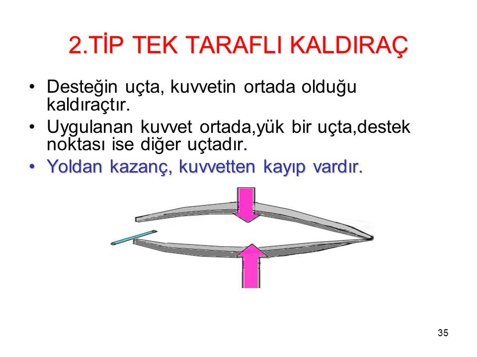 2.TİP TEK TARAFLI KALDIRAÇ