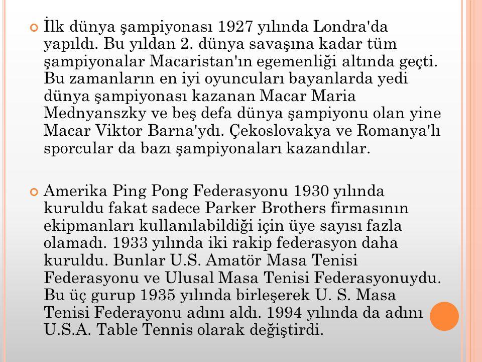 İlk dünya şampiyonası 1927 yılında Londra da yapıldı. Bu yıldan 2