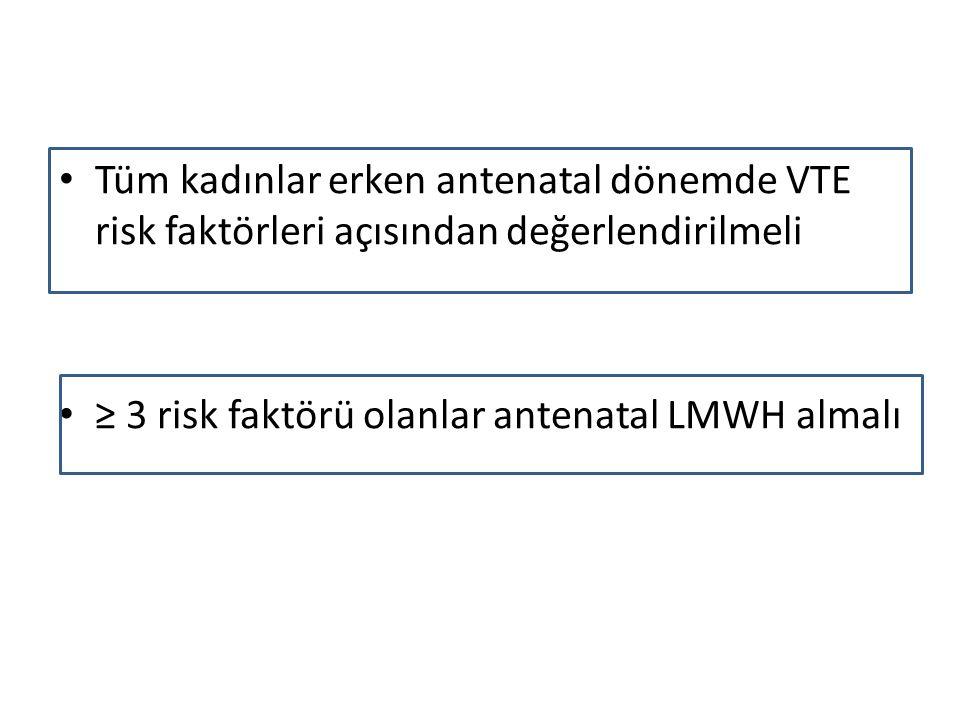 Tüm kadınlar erken antenatal dönemde VTE risk faktörleri açısından değerlendirilmeli
