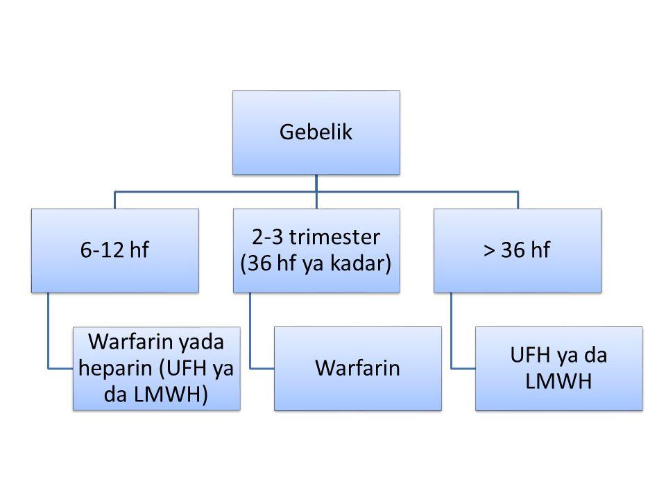 Warfarin yada heparin (UFH ya da LMWH) 2-3 trimester (36 hf ya kadar)