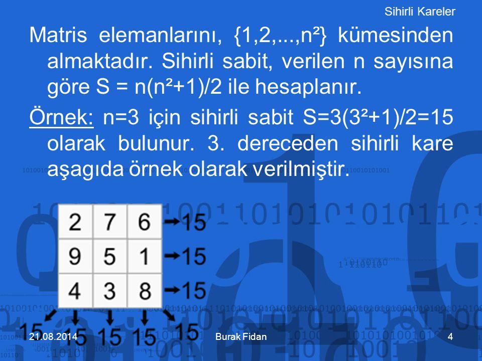 Sihirli kareler Matris elemanlarını, {1,2,...,n²} kümesinden almaktadır. Sihirli sabit, verilen n sayısına göre S = n(n²+1)/2 ile hesaplanır.
