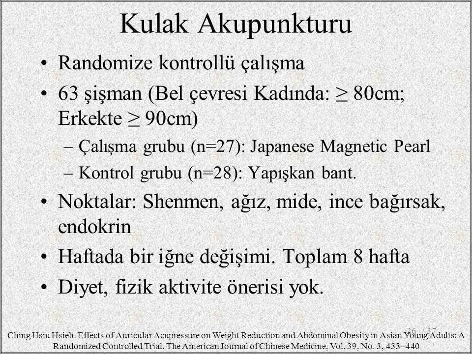 Kulak Akupunkturu Randomize kontrollü çalışma