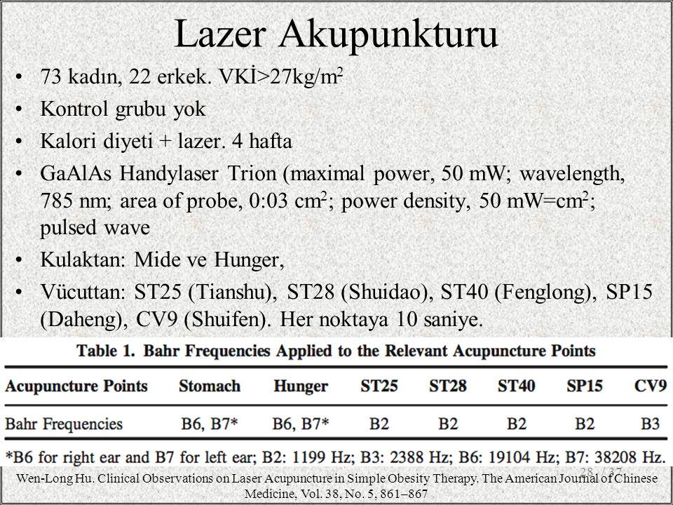 Lazer Akupunkturu 73 kadın, 22 erkek. VKİ>27kg/m2 Kontrol grubu yok