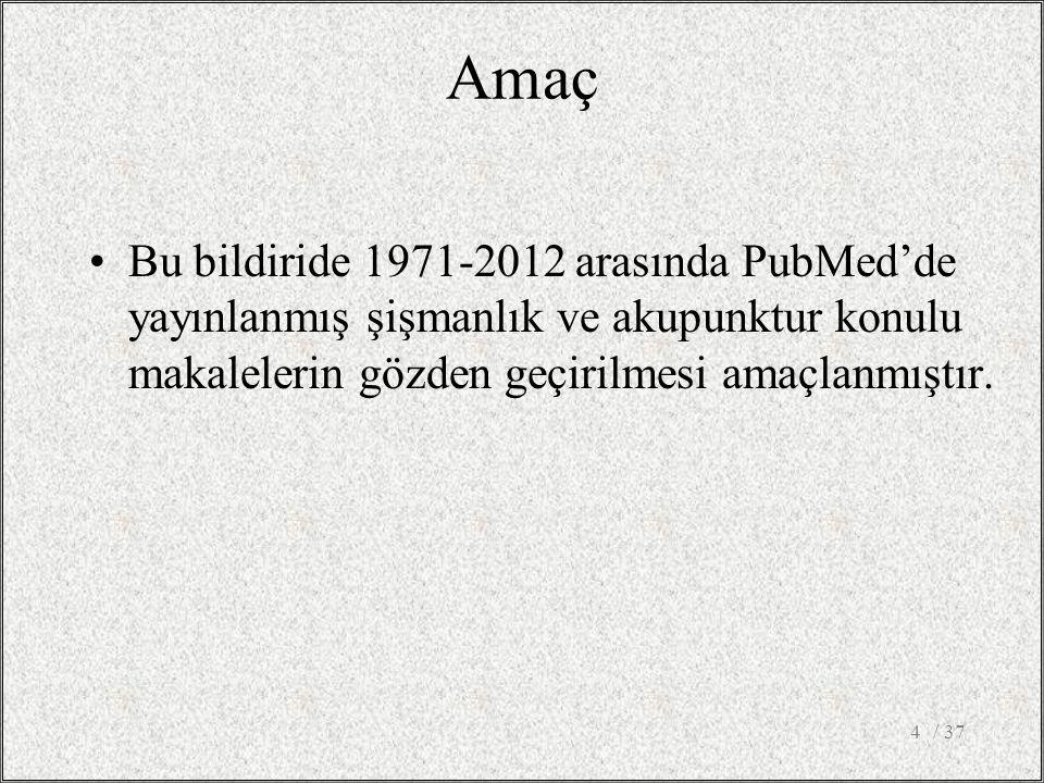 Amaç Bu bildiride 1971-2012 arasında PubMed'de yayınlanmış şişmanlık ve akupunktur konulu makalelerin gözden geçirilmesi amaçlanmıştır.
