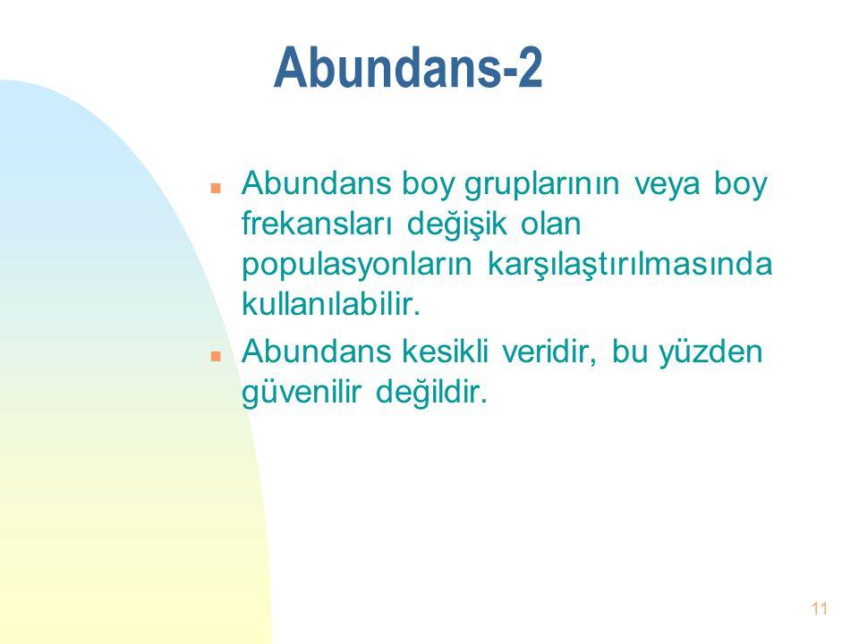 05.04.2017 Abundans-2. Abundans boy gruplarının veya boy frekansları değişik olan populasyonların karşılaştırılmasında kullanılabilir.