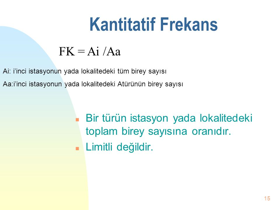 Kantitatif Frekans FK = Ai /Aa
