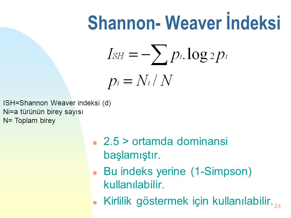 Shannon- Weaver İndeksi