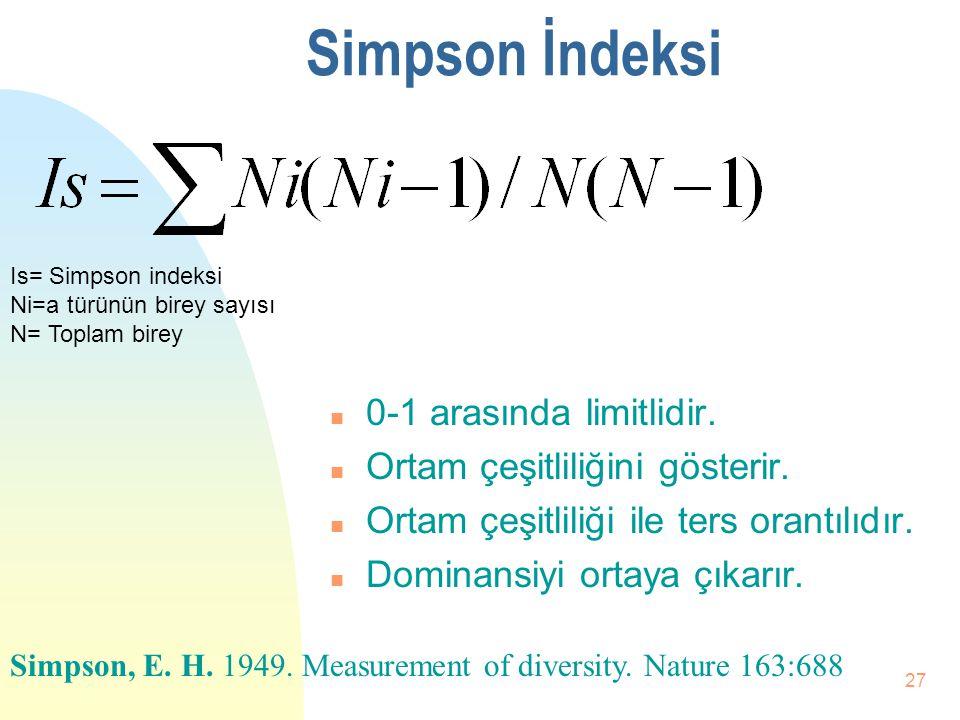 Simpson İndeksi 0-1 arasında limitlidir. Ortam çeşitliliğini gösterir.