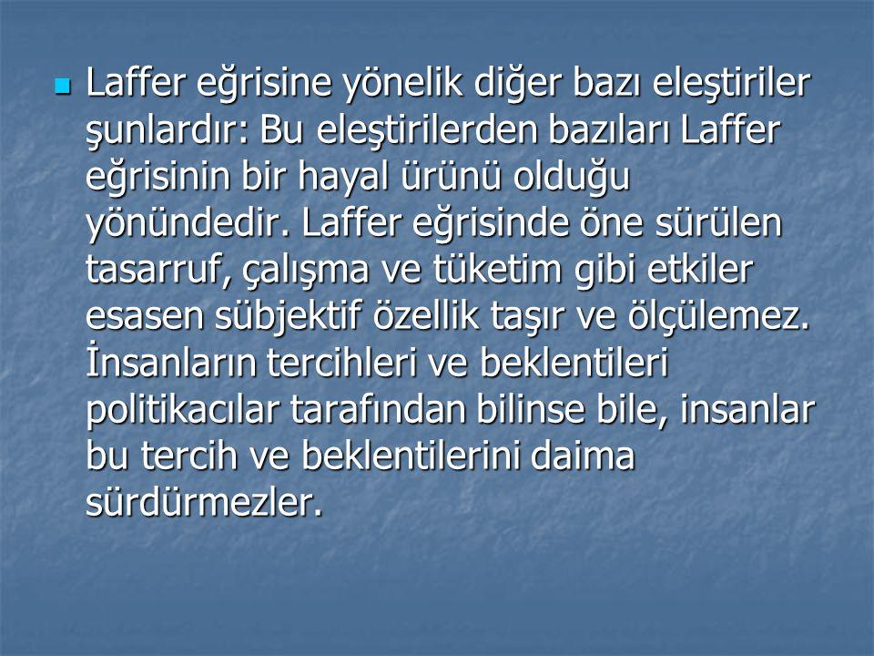 Laffer eğrisine yönelik diğer bazı eleştiriler şunlardır: Bu eleştirilerden bazıları Laffer eğrisinin bir hayal ürünü olduğu yönündedir.