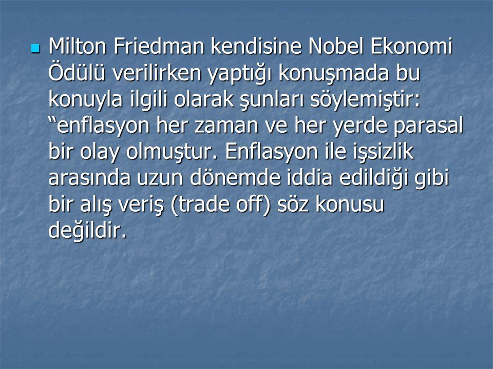 Milton Friedman kendisine Nobel Ekonomi Ödülü verilirken yaptığı konuşmada bu konuyla ilgili olarak şunları söylemiştir: enflasyon her zaman ve her yerde parasal bir olay olmuştur.