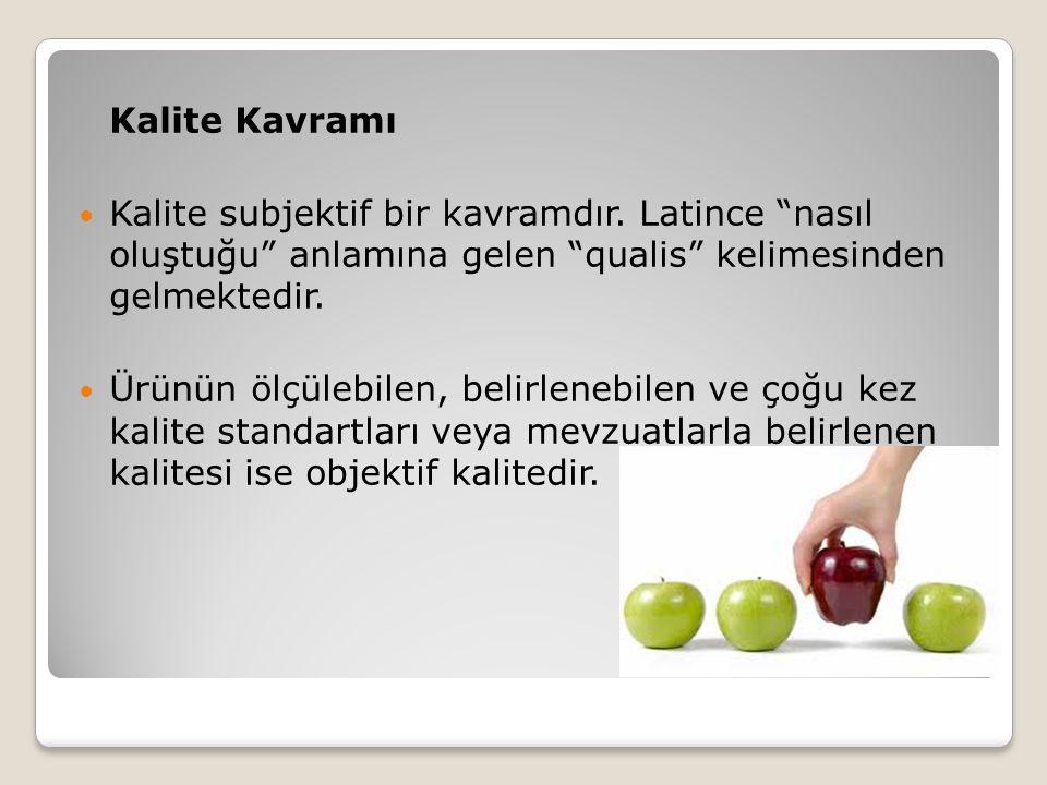 Kalite Kavramı Kalite subjektif bir kavramdır. Latince nasıl oluştuğu anlamına gelen qualis kelimesinden gelmektedir.