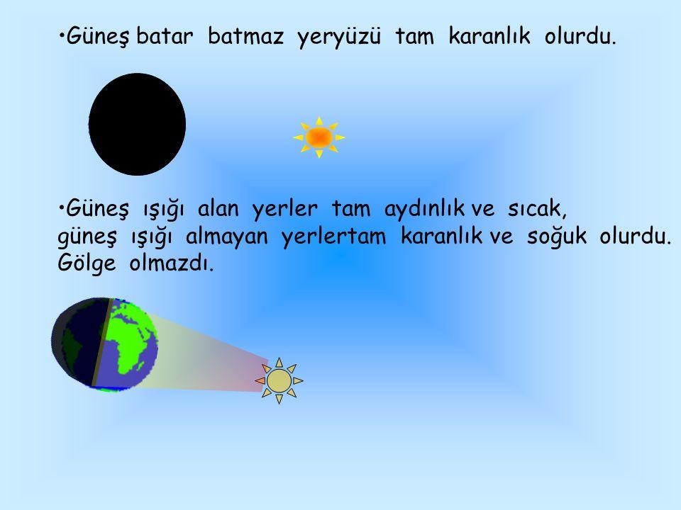 Güneş batar batmaz yeryüzü tam karanlık olurdu.