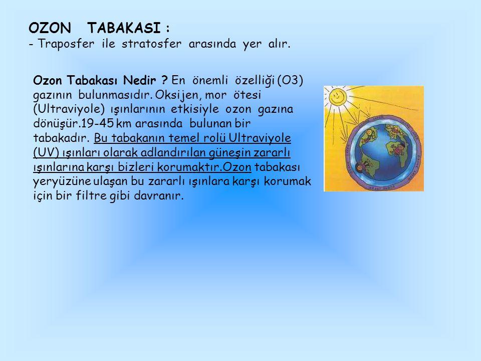 OZON TABAKASI : - Traposfer ile stratosfer arasında yer alır.