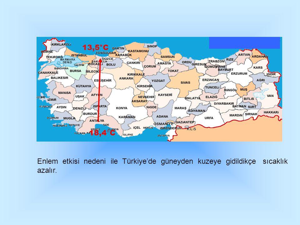 13,5°C 18,4°C. Enlem etkisi nedeni ile Türkiye'de güneyden kuzeye gidildikçe sıcaklık.