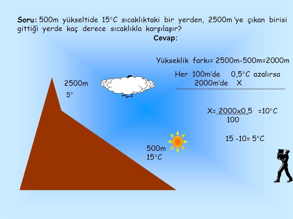Soru: 500m yükseltide 15°C sıcaklıktaki bir yerden, 2500m 'ye çıkan birisi