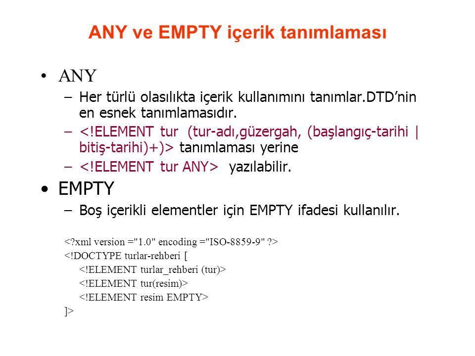 ANY ve EMPTY içerik tanımlaması