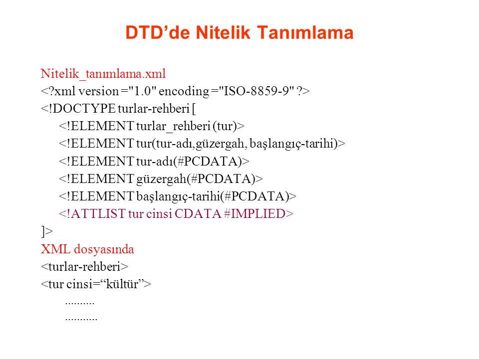 DTD'de Nitelik Tanımlama