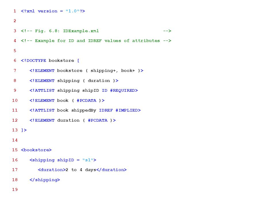 1 < xml version = 1.0 > 2. 3 <!-- Fig. 6.8: IDExample.xml --> 4 <!-- Example for ID and IDREF values of attributes -->